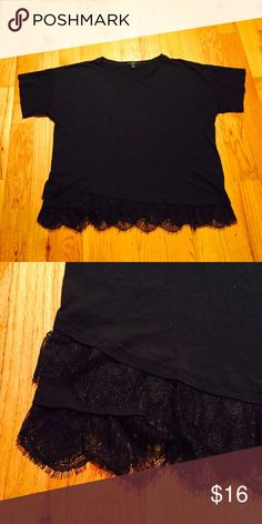 J Crew Lace Trimmed Tee Black tee with Lace on the bottom. Super flattering! This top measures 25 inches from pit to pit---very accommodating for a larger chest. J. Crew Tops