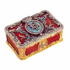 Gold, silver, red guilloche enamel and diamond box.