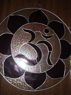 """STAINED GLASS AMAZING Sacred Geometry OM for your hOMe""""Celtic Yantra~LARGE SIZE"""