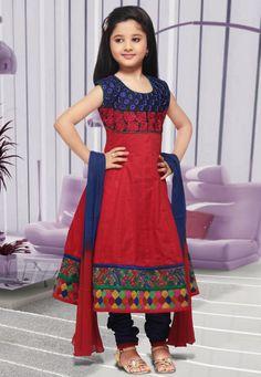 Red Cotton Anarkali Readymade Churidar Kameez Online Shopping: UWJ273