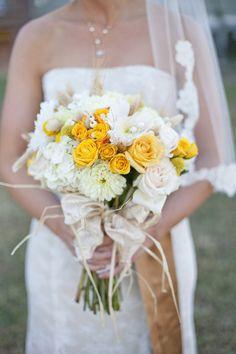Lexi's bridesmaid bouquet colors  Bridal bouquet - ivory and yellow flowers w/ burlap ribbon