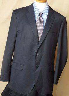 Cristiano Ricci Black Serge Lined Two Button Wool Sport Coat Size 46R  #CristianoRicci #TwoButton