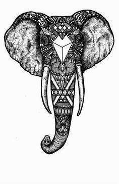 Pattern Elephant, Black and White, Black and White Digital Art Print of an Original Fine Art Line Drawing