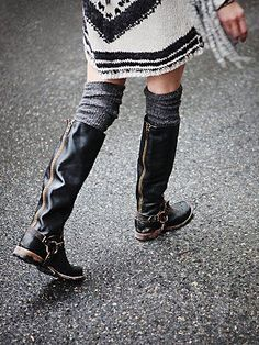 Tall Boot...distressed with scrunchy socks...very cool!
