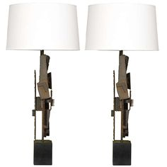 Brutalist Pair of Lamps by Harry Balmer | From a unique collection of antique and modern table lamps at http://www.1stdibs.com/furniture/lighting/table-lamps/