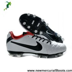 Latest Listing Cheap Leather Nike Tiempo Legend IV Elite FG White Black Red Football Shoes Shop