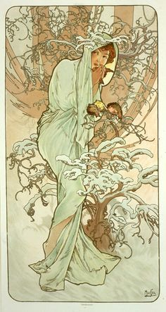 Winter 1896 1896 This was Mucha?s first set of decorative panels and it remains one of his most popular. In fact it was so popular that Mucha was asked by Champenois to produce at least two more sets based on the same theme in 1897 and 1900. Designs for a further two sets also exist. The theme lends itself well to personification and Mucha captures the moods of the seasons ? innocent Spring, sultry Summer, fruitful Autumn and frosty Winter ? to perfection.