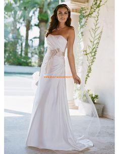 Trägerlos Kolumne Brautkleider 2014 aus Satin mit Blumen