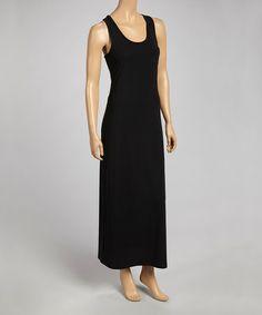 This Black Scoop Neck Maxi Dress by Cherry Stix is perfect! #zulilyfinds