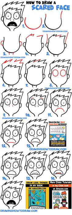 How to Draw Cartoon Facial Exressions : Scared, Petrified, Afraid, Terrified, Panic - How to Draw Step by Step Drawing Tutorials Cartoon Faces Expressions, Drawing Cartoon Faces, Cartoon Drawing Tutorial, Drawing Expressions, Facial Expressions, Drawing Tutorials, Scared Face Drawing, Word Drawings, Anime Drawings Sketches