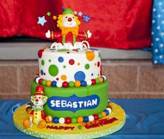 Love this cake at a Clowns Carnival Birthday Party!  See more party ideas at CatchMyParty.com!  #partyideas #carnival