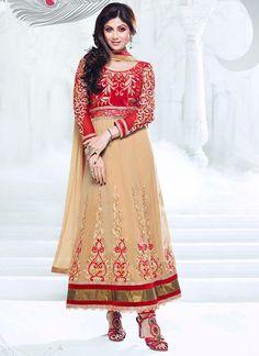 Mesmerizing #ShilpaShetty Beige #Kalidar Suit