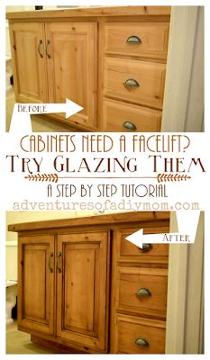 How to Glaze Cabinets with Gel Stain Walnut Kitchen Cabinets, Types Of Kitchen Cabinets, Kitchen Cabinets In Bathroom, How To Stain Cabinets, Diy Cabinets, Glazing Cabinets, Kitchen Cabinet Hardware, Kitchens With Painted Cabinets, Refinished Kitchen Cabinets
