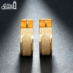 Effie Queen Wholesale 2016 New Gold Plated Stainless Steel Stud Earrings Women Fashion Surface Jewelry Brincos IE15