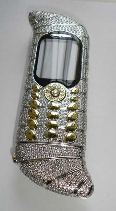 18 carat white gold and 120 carat diamonds makes this phone worth one million two hundred thousand dollars.