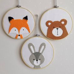 Forest Brothers 🦊🐻🐰 This glorious sword of the trinity … – Punch … - Stickerei Ideen Hand Embroidery Videos, Hand Embroidery Stitches, Embroidery Hoop Art, Hand Embroidery Designs, Punch Needle Patterns, Rug Hooking, Crafts, Woodland Animals, Sewing