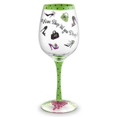 """Wine Shop 'Til You Drop Hand Painted Wine Glass - 16 Oz by HomeAndWine.com. $22.95. This hand-painted wine glass. Dimensions: 3 1/4"""" x 9"""". It has 16 ounce capacity. Made with non-toxic paint.. This is hand painted wine glassware features meticulous detailing and exclusive wrap-around designs. Customers will want to collect them all and use them as permanent wine charms to keep track of their drinks. hand painted glassware makes a great gift for weddings, birthdays, housewarmings..."""