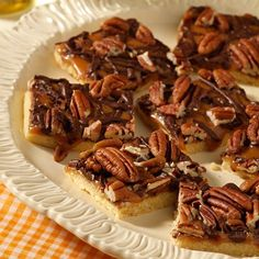 "Caramel Pecan Shortbread Bars | ""Pecans, chocolate, and caramel atop a ..."