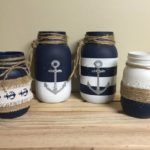 deko maritim diy Items similar to Anchor theme jars on Etsy Mason Jar Projects, Mason Jar Crafts, Bottle Crafts, Burlap Mason Jars, Nautical Party, Nautical Home, Nautical Style, Nautical Craft, Coastal Style