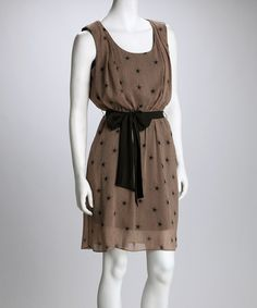 Take a look at this SL Fashions Taupe & Blue Star Belted Dress by SL Fashions & ADIVA on #zulily today!