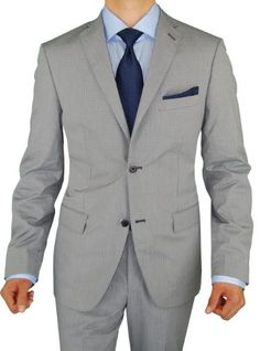 Bianco Brioni Men's Gray Blue Check Two Button Trim Fit Cotton Stretch Suit  - Click image twice for more info - See a larger selection of wedding tuxedo at http://zweddingsupply.com/product-category/tuxedo/ - groom,wedding, wedding style, wedding fashion, wedding ideas.