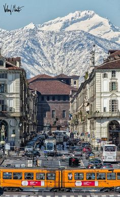 View from a street in Turin Italy Piedmont Region, Turin Italy, Northern Italy, Travel Aesthetic, Travel And Leisure, Travel Posters, Italy Travel, Places To Travel, Around The Worlds