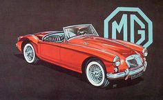 MGA red convertible advertisement with MG logo.