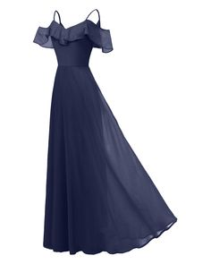 Women Chiffon Maxi Dress Ruffle Spaghetti Straps Off Shoulder Long Evening Party Bridesmaid Dress Navy Blue Ball Gowns Prom, Ball Gown Dresses, Dresses Uk, Nice Dresses, Casual Dresses, Prom Dresses, Summer Dresses, Chiffon Dress Long, Ruffle Dress