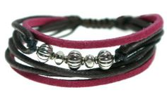 Red Suede and Brown Leather Multi-strand Zen Bracelet, Melon Beads, Adjustable Wristband for Men, Women, Teens, Boys and Girls Beautiful Silver Jewelry. $18.95. Accented with Bali Style Beads. Fully Adjustable from 6 Inches to 9 Inches. Contemporary, Trendy Leather Bracelet. Arrives in Foil Gift Box with Shiny Bow. Magenta Red Suede and Brown Leather Multi-Strand Bracelet