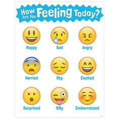 This How Are You Feeling Today? chart brings a little bit of social media emoji fun to the classroom. Students will identify with these emoji faces and the feelings that correspond to each. Feelings r