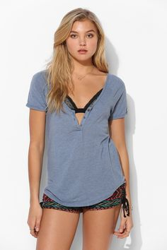 Truly Madly Deeply U-Neck Henley Tee (# 31999634)