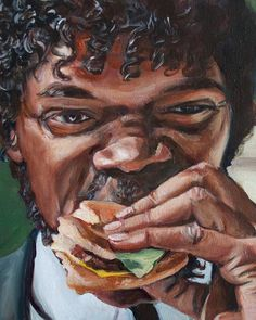 Jules Eats a Big Kahuna Burger - Pulp Fiction Painting - Portrait Print eating Jules Eats a Big Kahuna Burger - Pulp Fiction Painting - Portrait Print Tattoo Film, Movie Tattoos, Disney Tattoos, Quentin Tarantino, Tarantino Films, Arte Do Pulp Fiction, Pulp Fiction Tattoo, Pulp Fiction Comics, Big Kahuna Burger