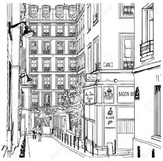 Vector Illustration Of A Street Near Montmartre In Paris Royalty Free Cliparts, Vectors, And Stock Illustration. Image 10466509.