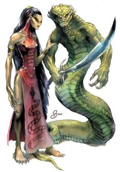 Yuan-ti (Yuan-ti pureblood [left] and abomination [right]) Long ago, in prehistoric times before humans achieved sapience, the empire of the serpentfolk stretched across Golarion. Fantasy Races, Fantasy Warrior, Fantasy Rpg, Medieval Fantasy, Dark Fantasy, Dragon Warrior, Gila Monster, Character Inspiration, Character Art