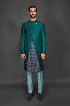 Chic | Printed Sherwani with Teal Double Button Jacket with Sea Blue Pants