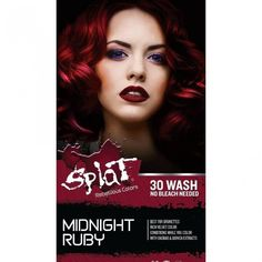 Bright Red Hair Dye, Dyed Red Hair, Colorful Hair, Splat Midnight Hair Color, Color Depositing Shampoo, Fantasy Hair Color, Permanent Hair Color, Semi Permanent, Velvet Color