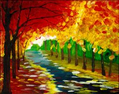 An Autumn Walk in the Park - Acrylic Painting. Done on an 8x10 stretched canvas. Great for some wall decor!