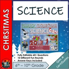End of Term Science Christmas Quiz 2019 - 72+ Questions in 10 varied topic question rounds.Science Christmas Quiz 2019 - Christmas Interactive 64+ Question Christmas / End of Term Quiz aimed at Middle and High school Students. Every round is completely different and not just your boring Q and A styl... Emoji Christmas, Christmas Quiz, Christmas Themes, Science Lessons, Science Activities, Types Of Learners, End Of Term, High School Students, Teaching Resources