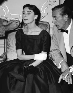 Audrey Hepburn and Gary Cooper on the set of Love in the Afternoon, 1956.