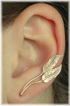 Feather Ear Pin Sterling Silver and Gold Filled by ChapmanJewelry. $68.00, via Etsy.