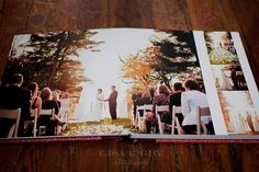 Would stretch the image to the edge and take a strip, make it transparent, to indicate where guests can sigh on this double page spread. Wedding Photo Books, Wedding Photo Albums, Wedding Book, Wedding Photos, Wedding Album Layout, Wedding Album Design, Album Digital, Wedding Scrapbook, Album Photo