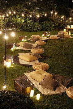 Backyard Movie Nights, Outdoor Movie Nights, Backyard Movie Party, Outdoor Movie Party, Outdoor Night Parties, Dream Party, Outdoor Living, Outdoor Decor, Event Decor