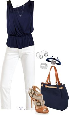 cute, casual navy & white