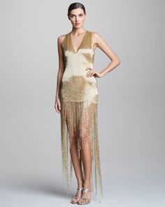 Sequined Fringe Dress - Neiman Marcus