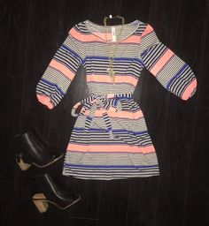 Stripped Belted Dress