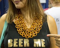 These GABF necklaces nearly constitute entire meals. Snack Necklace, Pretzel Necklace, Irish Christmas, Library Programs, Beer Festival, Alcoholic Beverages, Buckwheat, Blame, Brewing