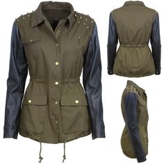 New in Studded Shoulder Khaki Jacket with Black PU Sleeves Khaki jacket with PU leather sleeves Mixed stud shoulder detail Drawstrings at hem and at waist on inside of jacket Zip and press stud fastening 85% Cotton 10% PU 5% Polyester Hand wash only Size 8 measures 43cm approx from underarm to hem Only 2 size 12's and 2 size 14's
