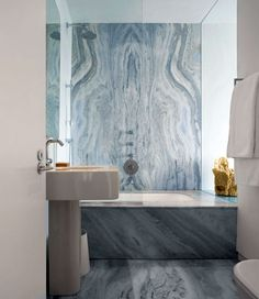 Amazing Glass House in Floating Design: Beautiful Marbled Bathroom Interior Stunning Beach Glass House