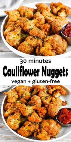 Cauliflower Nuggets (Vegan, Gluten-Free) These delicious Cauliflower Nuggets are such a wonderful treat. Cauliflower florets are breaded and oven baked Vegan Appetizers, Vegan Dinner Recipes, Vegan Dinners, Appetizer Recipes, Whole Food Recipes, Healthy Recipes, Appetizer Dinner, Cauliflower Nuggets, Vegan Cauliflower
