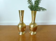Two matching brass vases by Sweetpotatojack on Etsy